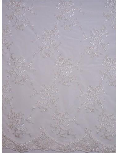 Tissu dentelle rebrodée fil argenté -...