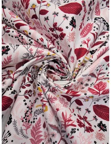 Tissu coton bio imprimé motif végétal...