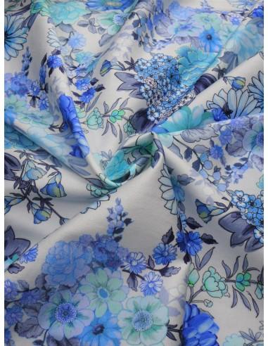 Tissu satin de coton imprimé - Bleu