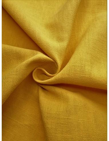 Tissu aspect lin lavé - Moutarde