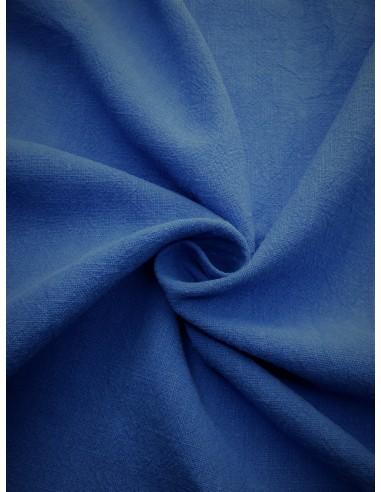 Tissu aspect lin lavé - Bleu moyen