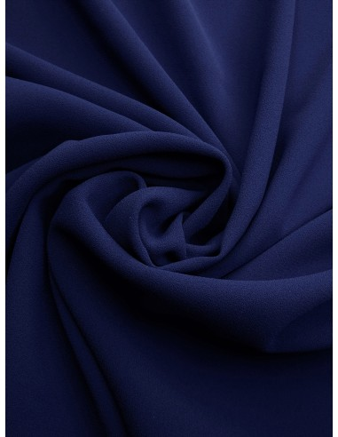 Tissu crêpe polyester - Bleu dur