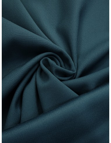Tissu laine envers satin - Bleu canard
