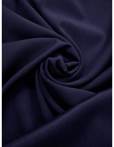 Tissu laine envers satin - Bleu dur