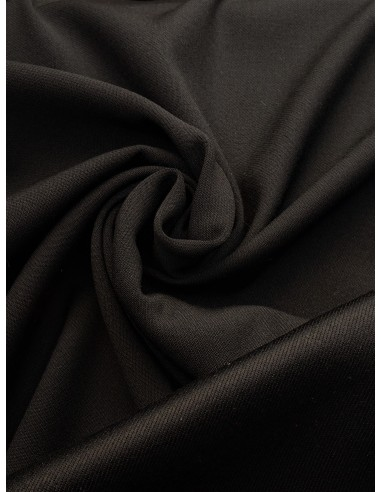 Tissu laine envers satin - Noir