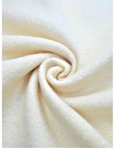 Tissu laine bouillie - Blanc cassé