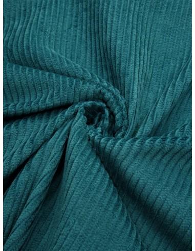 Tissu velours côtelé - Bleu canard